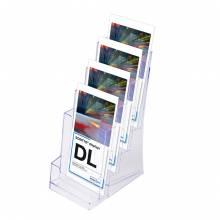 4 × 1/3 A4 Spritzguss-Prospekthalter Tisch/Wand
