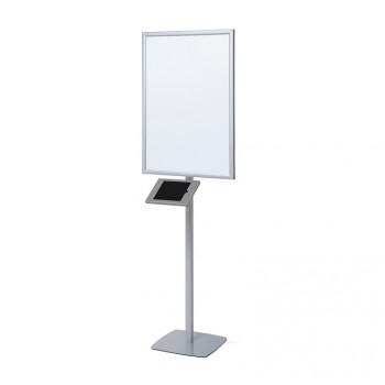LED Stand, mit Slimcase Tablet-Halter, silber