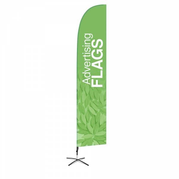 Werbefahne Wind (XL). Set mit Kreuz-Basis
