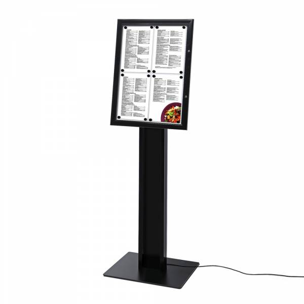 Speisekartenkasten Freistehend LED Schwarz
