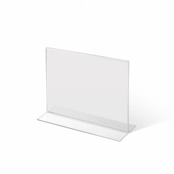Acrylaufsteller in T-Form DIN A6 quer