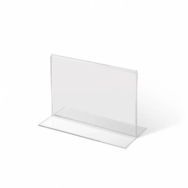 Acrylaufsteller in T-Form DIN A7 quer