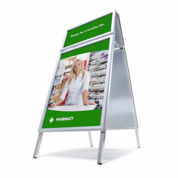 Kundenstopper 70x100 mit Logoplatte (32 mm)